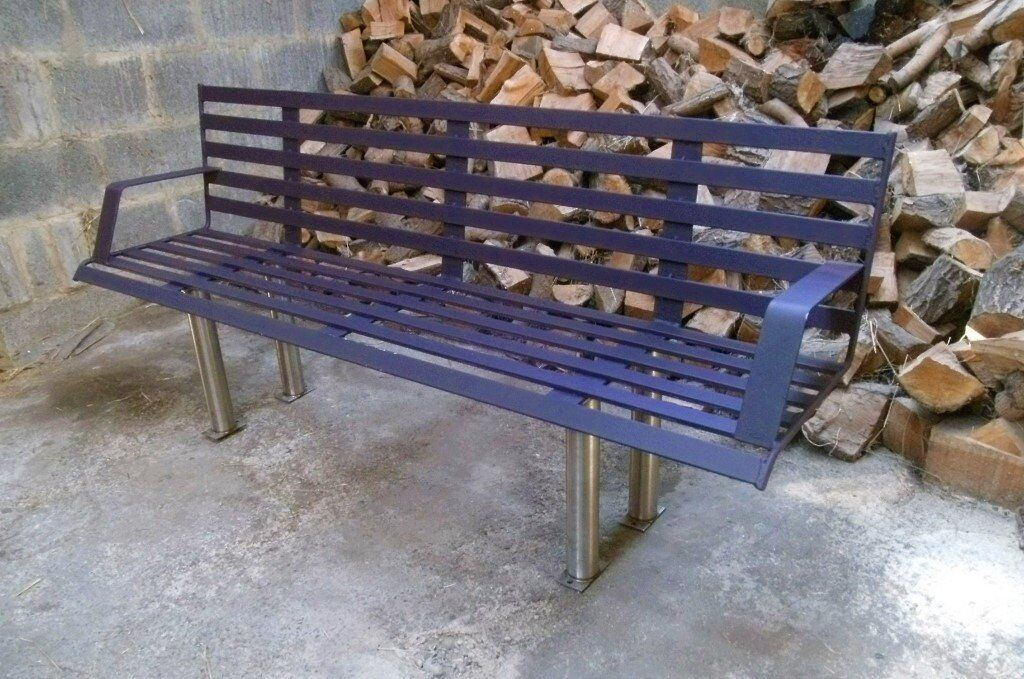 Astonishing Large Steel 3 4 Seater Park Bench With Stainless Steel Legs In Customarchery Wood Chair Design Ideas Customarcherynet