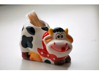 CERAMIC COW TOOTH PICK HOLDER