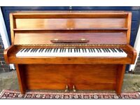 UPRIGHT MONTAGUE LONDON PIANO WALNUT CABINET IRON FRAME OVERSTRUNG UNDERDAMPED NEW HAMMERS
