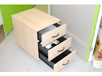 3-drawer unit on rollers, suitable as printer station