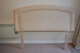 JOHN LEWIS AVEBURY DOUBLE HEADBOARD, CREAM, FAUX SUEDE WITH SOFTLY CURVED EDGE