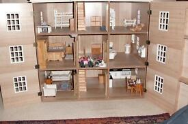 Dolls House, with dolls and furniture