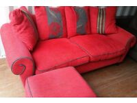 LUSH VERY COMFY RED DFS SOFA, STORAGE FOOTSTOOL & CHAIR FOR SALE.