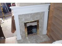 Wooden Fireplace with metal and white marble surround