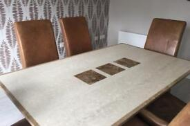 Solid marble dining table and 6 chairs