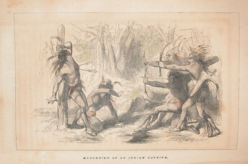 1857 COLORED ENGRAVING NATIVE AMERICA INDIAN EXECUTION EARLY FLORIDA US HISTORY