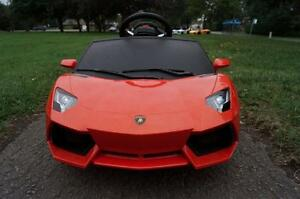 LAMBORGHINI AVENTADOR LP700-4 ELECTRIC TOY RC CAR 6V FOR KIDS! WHITE & ORANGE! MP3 INPUT, LED HEADLIGHTS, REMOTE CONTROL
