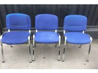 office chair blue with chrome legs