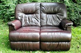 2 seater leather high-back sofa