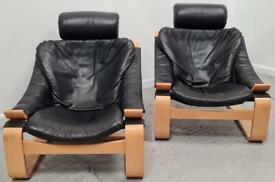 Black Danish Low Chairs x 2 1606217