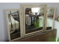 Antique triple panelled dressing table mirror