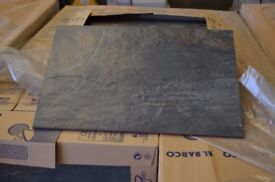 CHARCOAL SLATE-EFFECT RIVEN FLOOR TILES 30X45cm JOBLOT 18M2 LEFT OVER FROM PROJECT