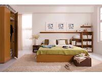 NEW Bedroom Furniture Set - King Size Bed, 2 x Shelving Unit, 2 x Wall Shelves Alder