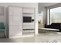 KL Two Door Sliding High Gloss White/Black Wardrobe