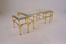 Gold coffee table with 2 side tables by Chelsom, 1980`s ca, English