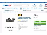 STIRLING STEEL CUSHION SOLE SAFETY SHOES BLACK NEW SIZES 10 & 12