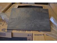 CHARCOAL RIVEN SLATE-EFFECT WALL & FLOOR TILES 30X45cm joblot 18m2 left over from project