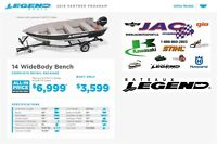 2016 Legend Boats Ltd 14 WideBody Bench Mercury 9.9 MLH **37.83$