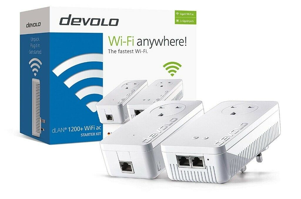 devolo 1200+ wifi starter kit powerline adapters  internet over your house  wiring