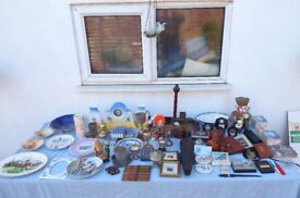 Mixed lot of 60 antique collectibles + 9 prints and 2 plaques to clear