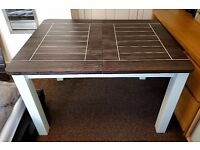 BLACK/GREY & WHITE SOLID WOOD AND OAK VENEER EXTENDABLE DINING TABLE
