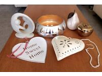 Household Ornaments Bundle. Silver/Gold Bowl, Pear, Apple, Eternity Couple, Candle Heart, Plaque