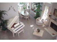 modern white baby grand piano