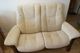 Ekornes Cloth Two Seater Manual Recliner Sofa