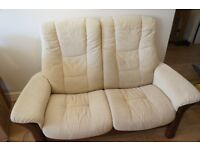 Ekornes Cloth Two Seater Manual Recliner Sofa