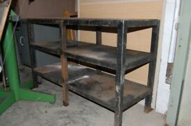Engineers metal work table / shelf unit / Work bench