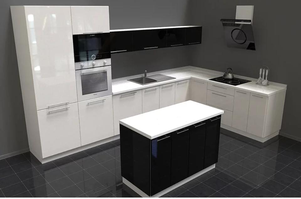 Küche L-Form Weiß Hochglanz / Grau Hochglanz mit Kochinsel NEU