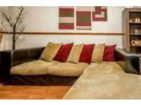 Beautiful Italian Leather & Fabric Corner Sofa