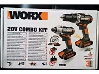 Worx WX 921 Twin Pack Hammer Drill and Impact Driver Combi Kit 20V (Bran new)