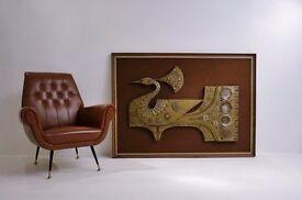 Giovanni Schoeman sculpture, Peacock, cold-cast bronze 1970`s