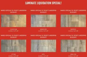 Laminate Liquidation Special - !MARCH ONLY!