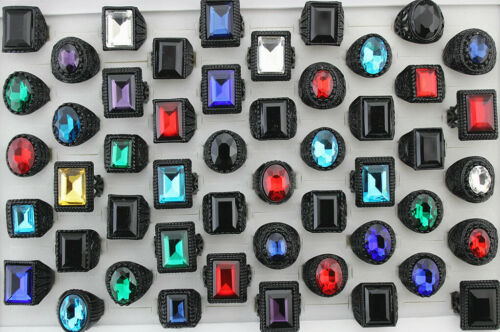 35pcs Wholesale Lots Mens Mixed Design Glass Rings Black Plated Alloy Jewelry