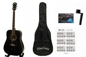 Acoustic Guitar 41inch Full Size Black Steel string, dreadnought guitar iMusic578