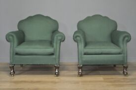 Attractive Pair Of 2 Antique Edwardian Carved Mahogany Fireside Armchairs Chairs