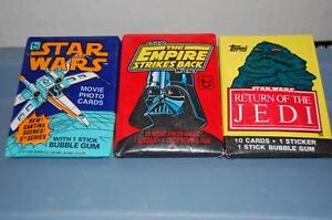 Star Wars, Empire, and Return of the Jedi cards in package