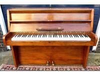 MODERN UPRIGHT MONTAGUE LONDON PIANO WALNUT CABINET IRON FRAME OVERSTRUNG UNDERDAMPED SERVICED VGC