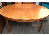 Vintage retro wooden large oval extending G plan teak kitchen dining table mid century