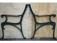 HEAVY DUTY PAIR OF VINTAGE CAST IRON BENCH ENDS GARDEN CHAIR SEAT - 2 ENDS (Set 2)