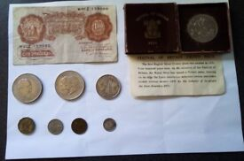 Ten shilling note, Crown half crown, farthing , sixpence churchil charles and diana festival crown