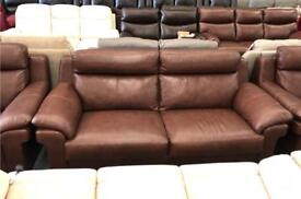 Real leather 2 seater + 2 Aemchairs