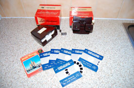 Viewmaster Viewer with Light Attachment, several picture reels, uses batteries or daylight