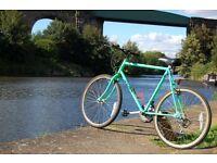 Retro 90's Bright Neon Green Raleigh Hybrid Town Bike 18-23 Steel Framed Fixie