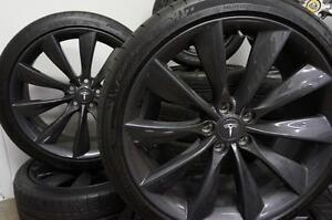 """NEW TESLA OEM 21"""" GREY TURBINE WHEELS STAGGERED WITH MICHELIN PILOT SPORT PS2 245/35ZR21 FRONT AND 265/35ZR21 REAR"""