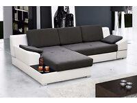 MARTIN Corner Sofa Bed * Brand New * Modern Design* Black and White, left corner position