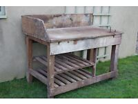 Reclaimed old wooden work bench