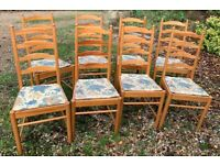 4 OR 8 Vintage ERCOL Pine Line Ladder back dining/kitchen chairs.